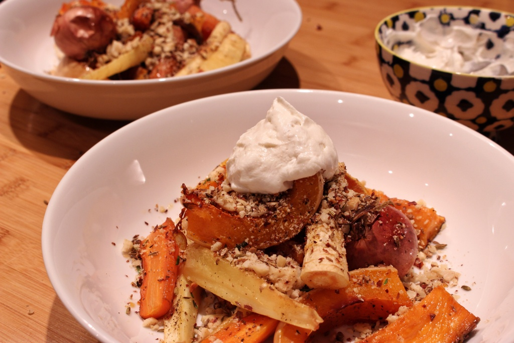 Autumn roasted vegetables, hazelnut dukkah, tahini yogurt