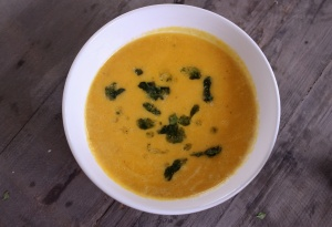 Butternut squash soup with thyme pesto oil