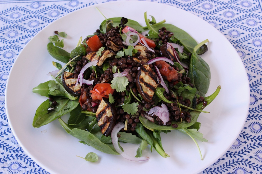 A warm salad of grilled aubergine and puy lentils
