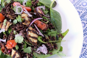 A warm salad of grilled aubergine and lentils
