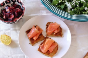 potato cakes, smoked salmon