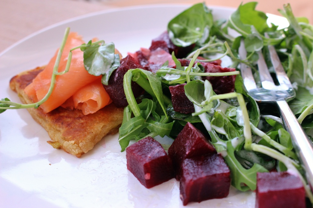 Potato cakes, smoked salmon, beetroot, ginger, watercress
