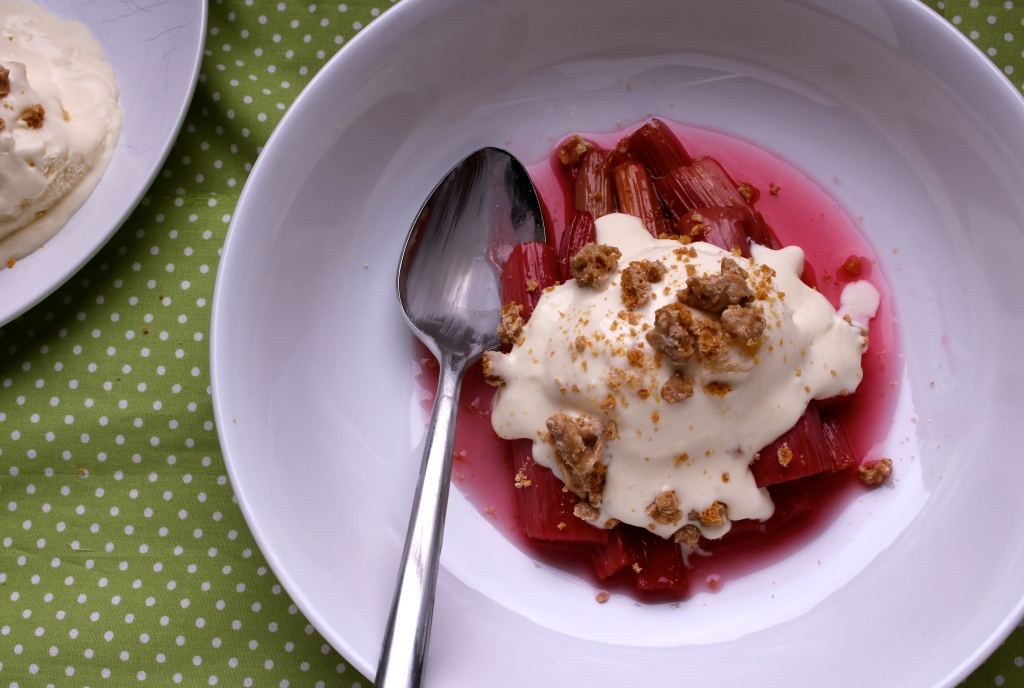 Roasted rhubarb with ginger white chocolate crumble crunch ice cream