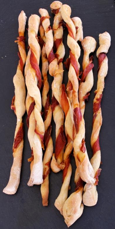Parma ham spiral breadsticks