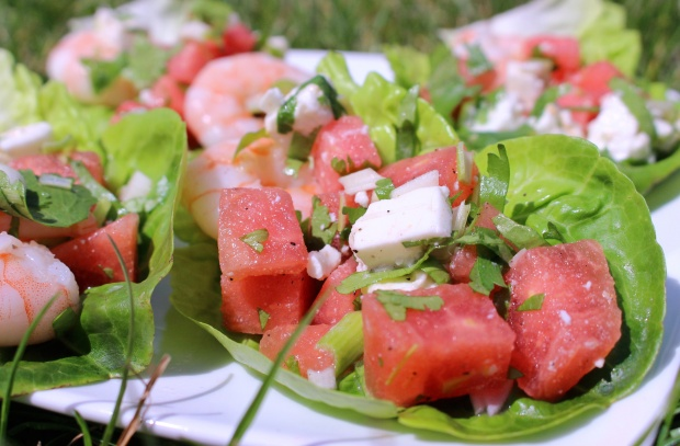 prawn, watermelon and feta wraps