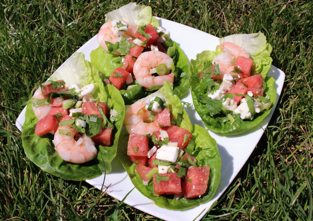 prawn watermelon and feta wraps