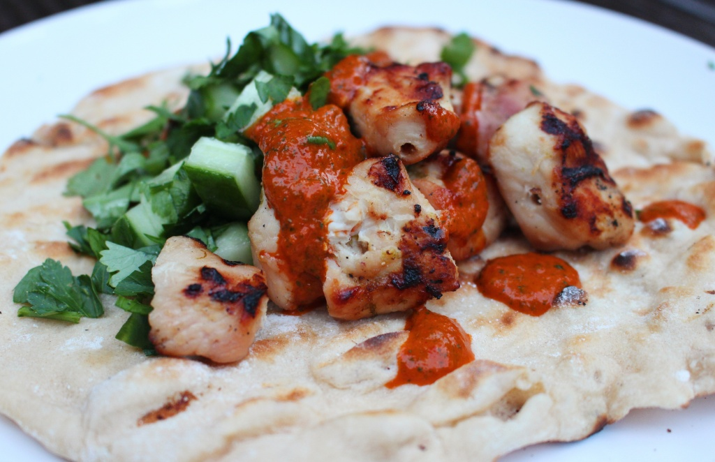caipririnha chicken, yogurt flatbreads