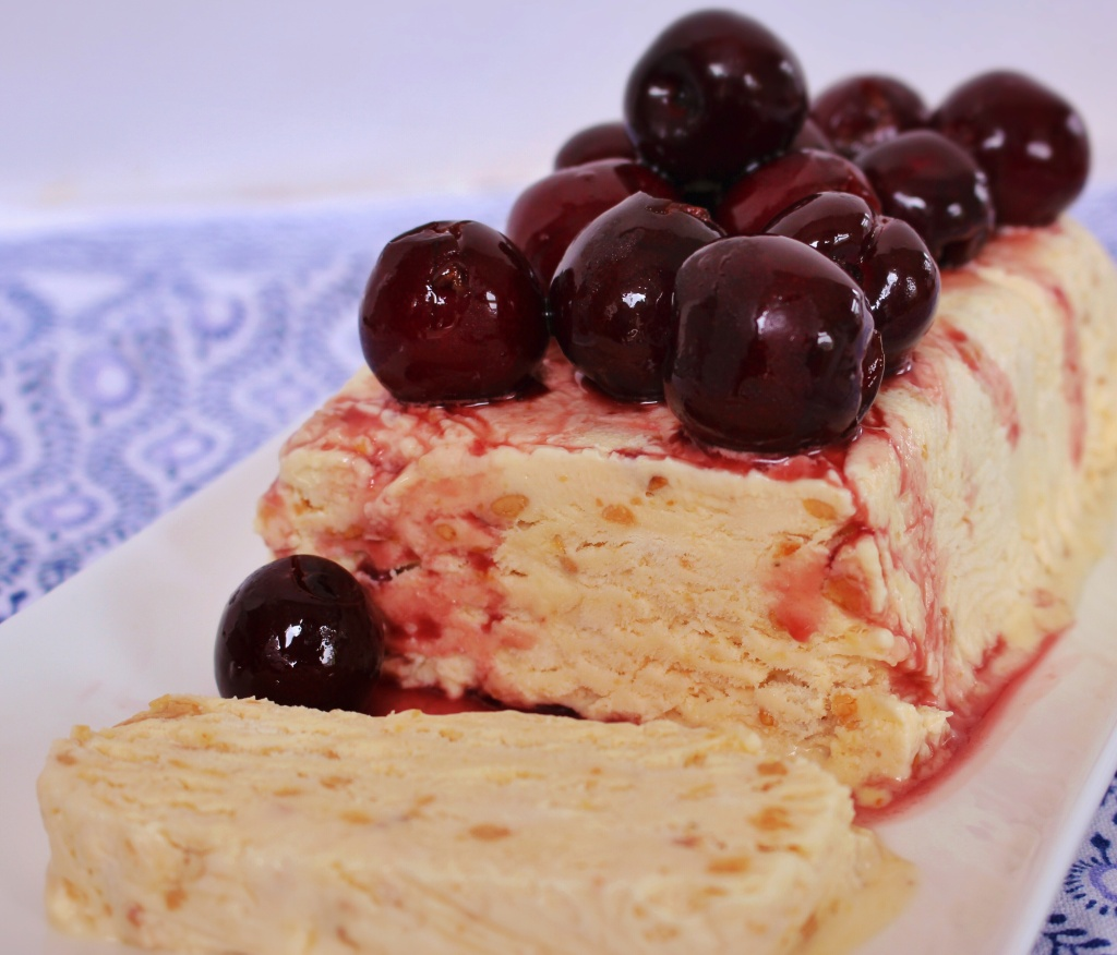 Turron semifreddo with marinated cherries