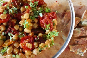 roasted tomatoes, chickpeas and harissa