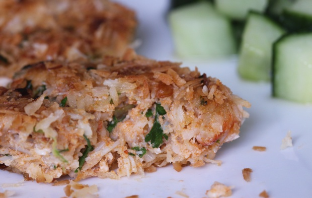 coconut crab cakes with sweet cucumber pickle