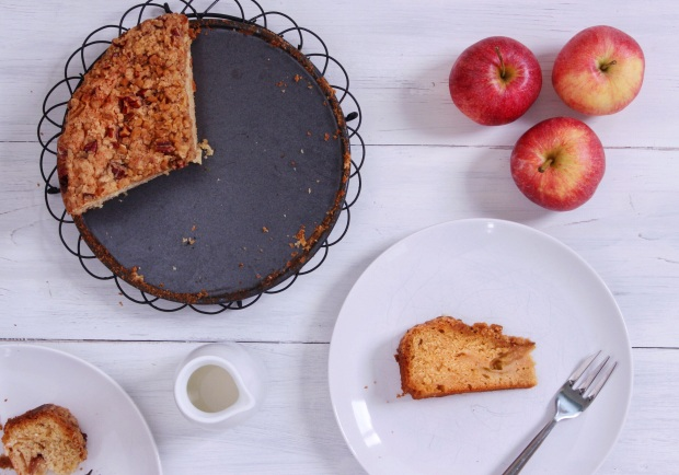 autumn apple cake with maple pecan crumble