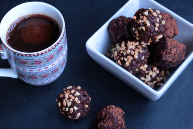 chocolate, hazelnut and date truffles