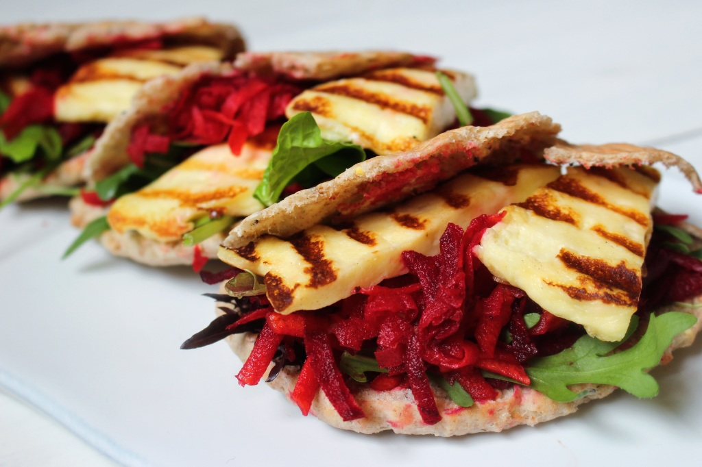 Grilled halloumi with beetroot, carrot, lemon and cumin salad