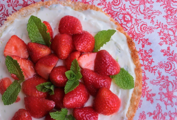 coconut, lime and strawberry tart