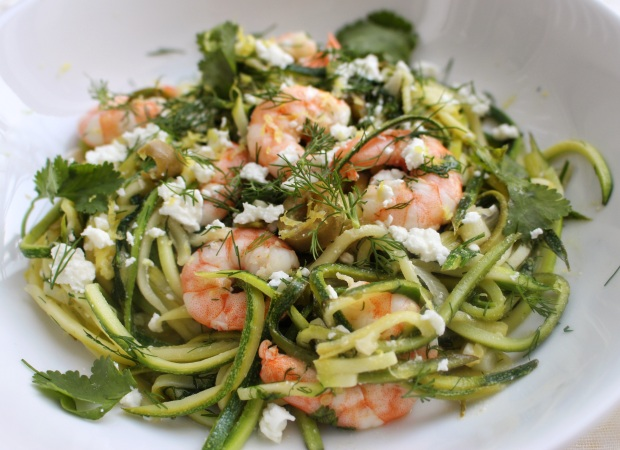 prawn, feta and lemon courgetti